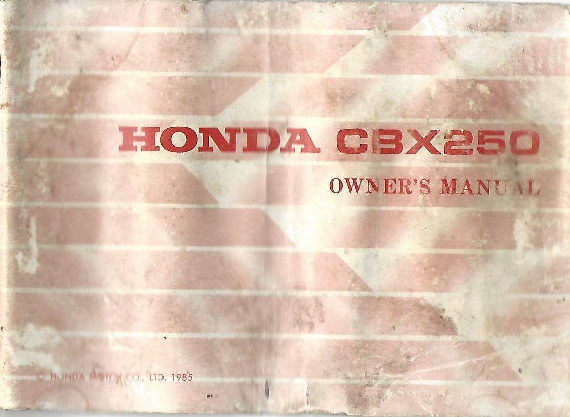 Honda Cbx250 Owners Manual Wiring Diagram 1985 Cbx Cover